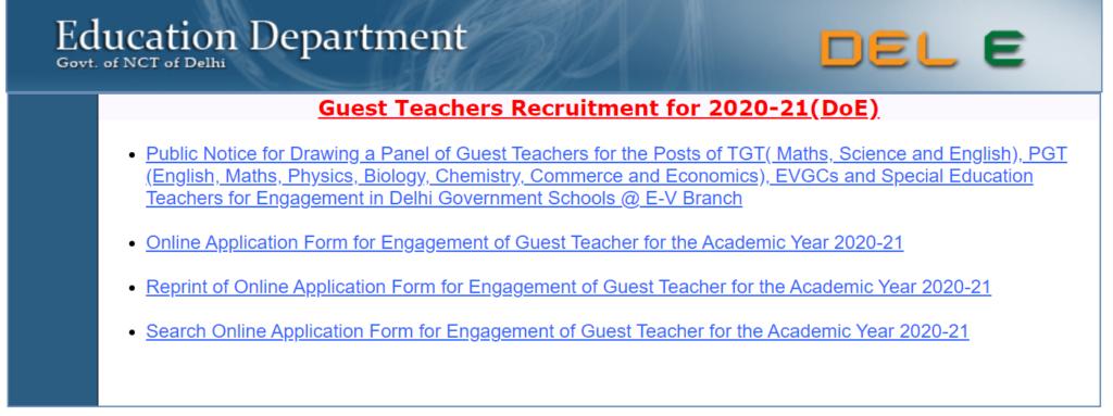 Delhi Guest Teacher Recruitment 2021