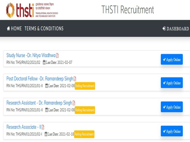 THSTI Research Nurse Recruitment 2021